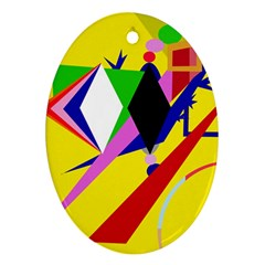 Yellow abstraction Oval Ornament (Two Sides)