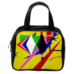 Yellow abstraction Classic Handbags (One Side)