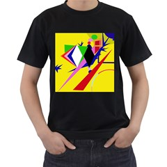 Yellow abstraction Men s T-Shirt (Black)