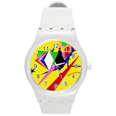 Yellow abstraction Round Plastic Sport Watch (M)