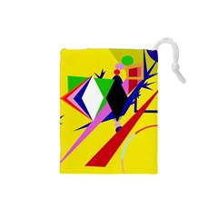 Yellow abstraction Drawstring Pouches (Small)