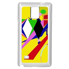 Yellow abstraction Samsung Galaxy Note 4 Case (White)