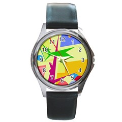 Colorful abstract art Round Metal Watch