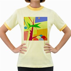Colorful abstract art Women s Fitted Ringer T-Shirts