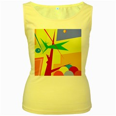 Colorful abstract art Women s Yellow Tank Top