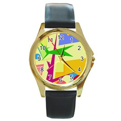 Colorful abstract art Round Gold Metal Watch