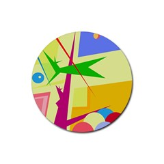 Colorful abstract art Rubber Coaster (Round)