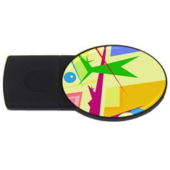 Colorful abstract art USB Flash Drive Oval (1 GB)