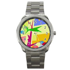 Colorful abstract art Sport Metal Watch
