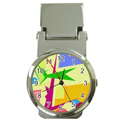 Colorful abstract art Money Clip Watches