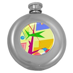 Colorful abstract art Round Hip Flask (5 oz)
