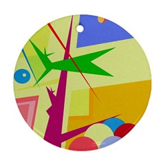 Colorful abstract art Round Ornament (Two Sides)