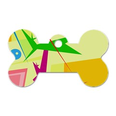 Colorful abstract art Dog Tag Bone (Two Sides)