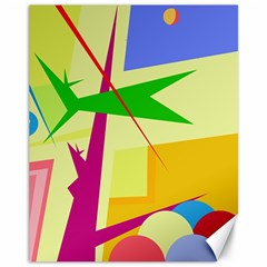Colorful abstract art Canvas 11  x 14