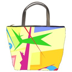 Colorful abstract art Bucket Bags