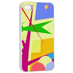 Colorful abstract art Apple iPhone 4/4s Seamless Case (White)