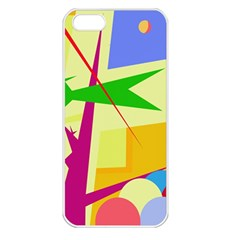 Colorful abstract art Apple iPhone 5 Seamless Case (White)
