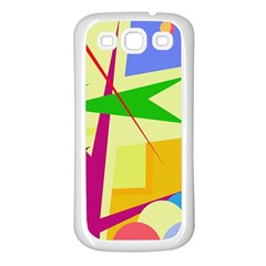 Colorful abstract art Samsung Galaxy S3 Back Case (White)
