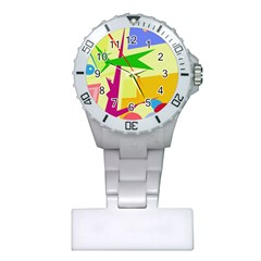 Colorful abstract art Plastic Nurses Watch