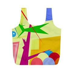 Colorful abstract art Full Print Recycle Bags (M)