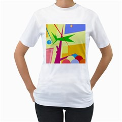Colorful abstract art Women s T-Shirt (White)