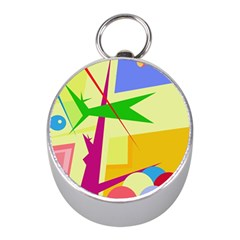 Colorful abstract art Mini Silver Compasses