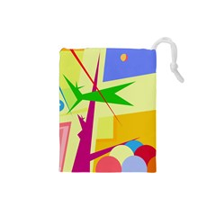 Colorful abstract art Drawstring Pouches (Small)