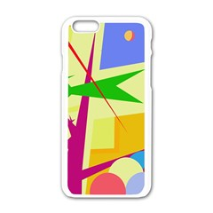 Colorful abstract art Apple iPhone 6/6S White Enamel Case