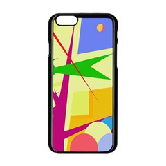 Colorful abstract art Apple iPhone 6/6S Black Enamel Case
