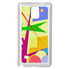Colorful abstract art Samsung Galaxy Note 4 Case (White)