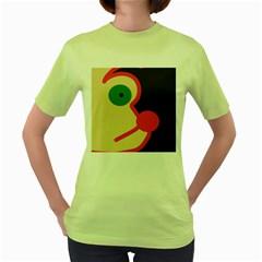 Dog face Women s Green T-Shirt
