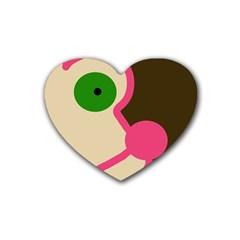 Dog face Rubber Coaster (Heart)