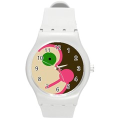 Dog face Round Plastic Sport Watch (M)