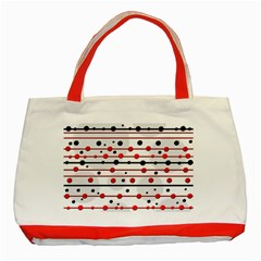 Dots and lines Classic Tote Bag (Red)