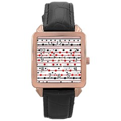 Dots and lines Rose Gold Leather Watch