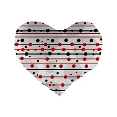 Dots and lines Standard 16  Premium Flano Heart Shape Cushions