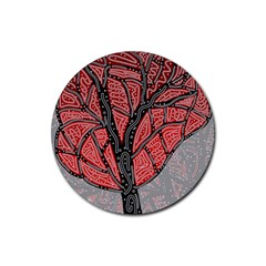 Decorative tree 1 Rubber Coaster (Round)