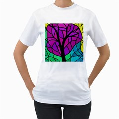 Decorative tree 2 Women s T-Shirt (White) (Two Sided)