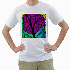 Decorative tree 2 Men s T-Shirt (White) (Two Sided)