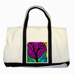 Decorative tree 2 Two Tone Tote Bag