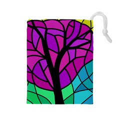 Decorative tree 2 Drawstring Pouches (Large)