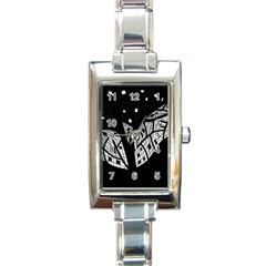 Black and white tree Rectangle Italian Charm Watch