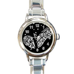 Black and white tree Round Italian Charm Watch