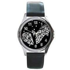 Black and white tree Round Metal Watch