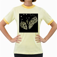 Black and white tree Women s Fitted Ringer T-Shirts