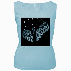 Black and white tree Women s Baby Blue Tank Top