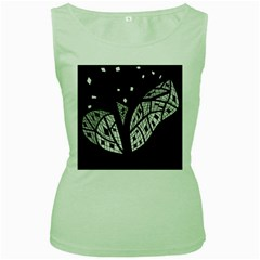 Black and white tree Women s Green Tank Top