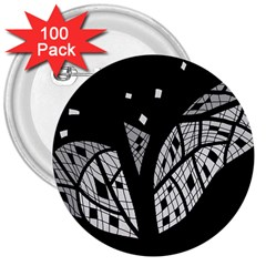 Black and white tree 3  Buttons (100 pack)