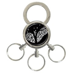 Black and white tree 3-Ring Key Chains