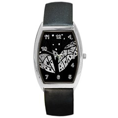 Black and white tree Barrel Style Metal Watch